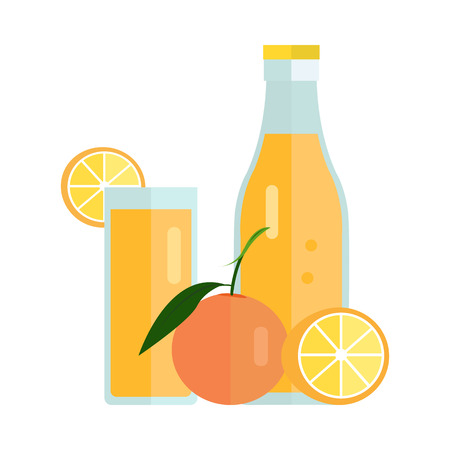 summer drink: Bottle and glass with orange beverage. Vector in flat design. Sweet summer drink, fresh juice concept. Illustration for icons, labels, prints, , menu design, infographics. Isolated on white.