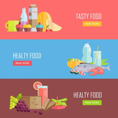 gripe: Set of Tasty and Healthy Food banners. Flat design. Collection of nutrition horizontal concept vectors with various foods and drinks. Illustration for cafe, grocery, farm web page, menus design. Illustration