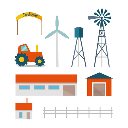 farm structures: Set of farming buildings, technical structures and machines in flat design. Vector of tractor, house, garage, barn, wind pump, wind turbine, water tower.  Elements for traditional farm illustrating.