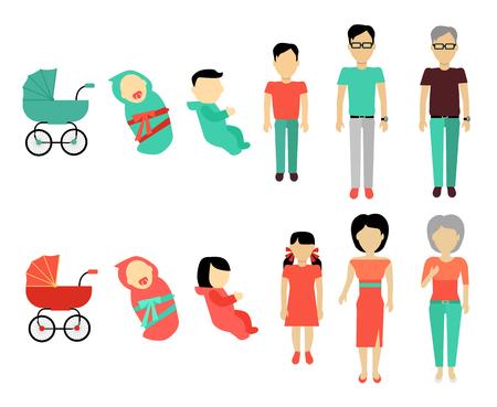 creciendo concepto humano. Diseño plano. Las personas de sexo masculino y las plantillas de personajes femeninos sin rostro en diferentes edades, desde bebés a más viejos. Etapas de la ilustración de la vida para el envejecimiento de los conceptos y la infografía.