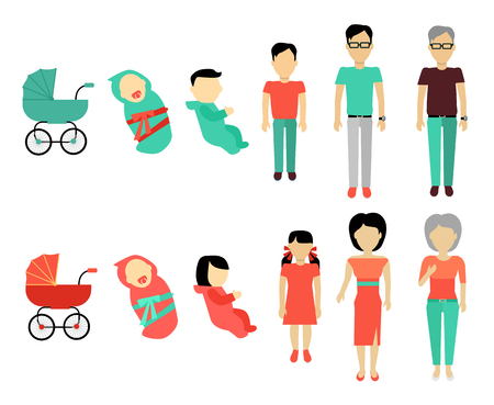 Human growing up concept. Flat Design. People male and female characters templates without face in different ages from baby to older. Stages of life illustration for aging concepts and infographics. Stock Illustratie