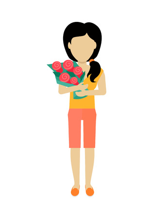 without clothes: Female character without face with flowers vector in flat design. Woman template personage figure illustration for dating services, womens holiday, birthday concepts, . Isolated on white.