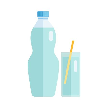 summer drink: Plastic bottle and glass with beverage. Vector in flat style design. Sweet summer drink concept. Illustration for icons, labels, prints, menu design, infographics. Isolated on white background.