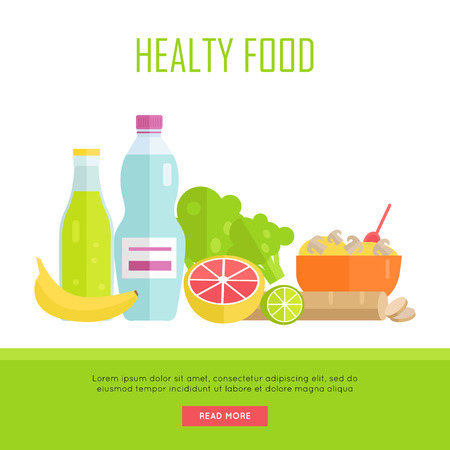 bread soda: Healthy food concept web banner. Vector in flat design. Illustration of various food cereal, bread, soda, water, fruits and vegetables on white background for cafe, stores, gym web pages design.