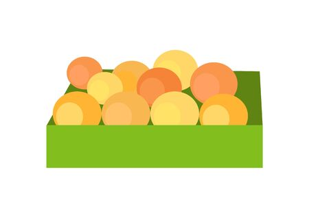 assortment: Box with fruits concept vector. Flat style design. Fresh oranges on market. Delivery farm products, grocery store assortment, foods for diet illustration. Isolated on white background.