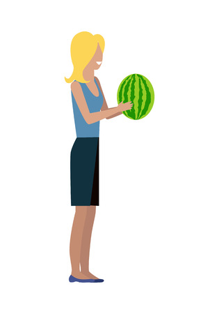 buyer: Woman customer character vector template. Flat design. Buyer in grocery shop. Smiling girl with watermelon in hands standing on white background. Consumer choice and shopping in mall concept.