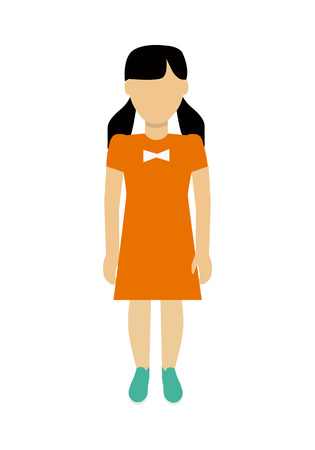 orange dress: Child character without face in orange dress vector in flat design. Girl template personage figure illustration for child concepts, fashion app, infographic. Isolated on white background.