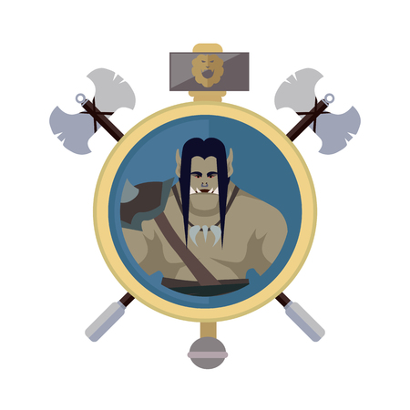 Orc with axes, isolated avatar icon. Orc warrior with black hair and armors. Stylized fantasy characters. Game object in flat design isolated on white background. Vector illustration. Illustration