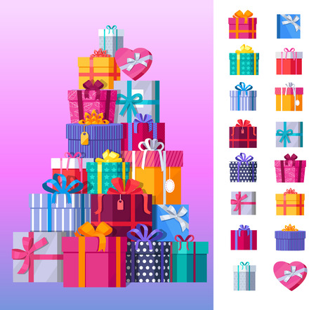 Set of gift boxes vector. Stack of presents in various bright, striped, spotted boxes tied colored ribbons. Beautifully wrapped surprise. Illustration for decoration, event management companies ad. Çizim