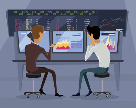 indexes: Modern online trading on stock exchange concept. Flat style design Monitoring of value indexes. Online trading technology. Brokerage trading on the web vector. Flat style design. Businessman at work.