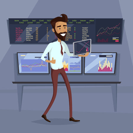 stock broker: Business success illustration. Flat Design. Growth of value indexes. Good day on the stock exchange concept. Happy smiling man with tablet enjoying his success. Modern online trading technology.
