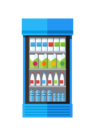 icebox: Blue showcase refrigerator for cooling drinks in bottles. Different colored bottles in blue drinks fridge. Fridge dispenser cooling machine. Isolated object in flat design on white background.