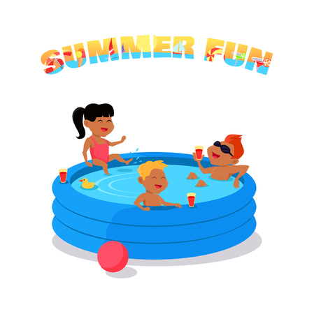 Summer fun conceptual vector. Family holiday with children illustration. Games in the water. Flat style design. Kids swimming and have fun in inflatable pool. Isolated on white background. Illustration