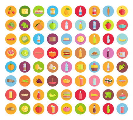 Big set of food icons. Fruits, vegetables, meat, sweets, beverages, bread, pizza, salads, sandwiches, honey, sauces milk products for farm grocery shop food delivery cafe menu illustrating Illustration