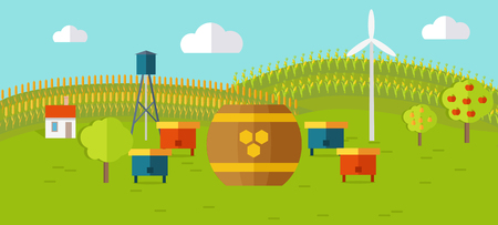 farmyard: Honey apiary conceptual vector. In flat style design. Beehives and barrel of honey on farmyard with fields and garden on background. Traditional organic apiary illustration. Isolated on white. Illustration