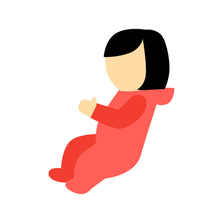 personage: Baby girl character without face dressed in red clothes vector. Flat design. Child template personage illustration for family, newborn, baby concepts, infographic. Isolated on white background.