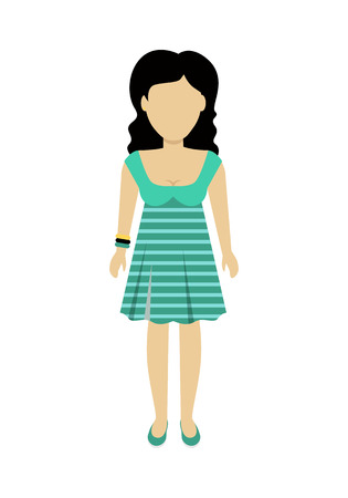 Female character without face in green dress vector in flat design. Woman template personage figure illustration for woman concepts, fashion app, infographic. Isolated on white background. Illustration