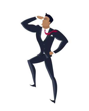 promising: Businessman searching for promising opportunities. Successful young businessman look into the distance isolated on white background. Business winner. Conceptual business idea, banner poster in flat Illustration