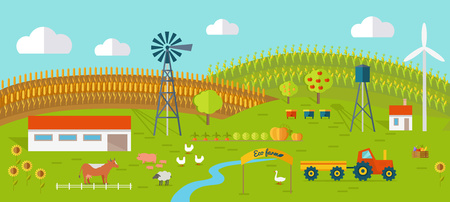 Eco farm conceptual vector. Flat design. Landscape view of traditional ecological farm. Country idyll. Farmyard with domestic animals, houses, machines, windmill, river, fields and garden. On white. Illustration