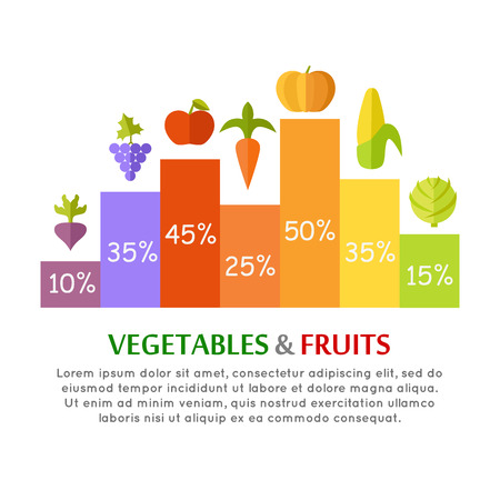 greens: Vegetables fruits conceptual vector In flat style design. Column infographics with different greens species. Illustration for diet, economical, farming concepts and banners. Isolated on white.