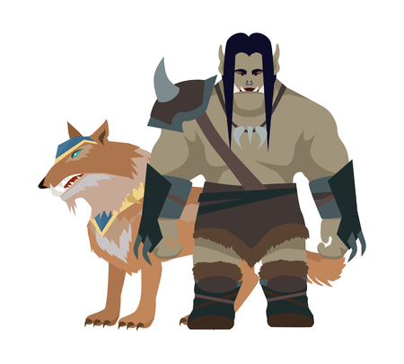 goblin: Cartoon monster orc with wolf. Orc warrior. Stylized fantasy character. War concept. For computer games, mobile appliances. Part of series of game objects in flat design. Vector illustration.