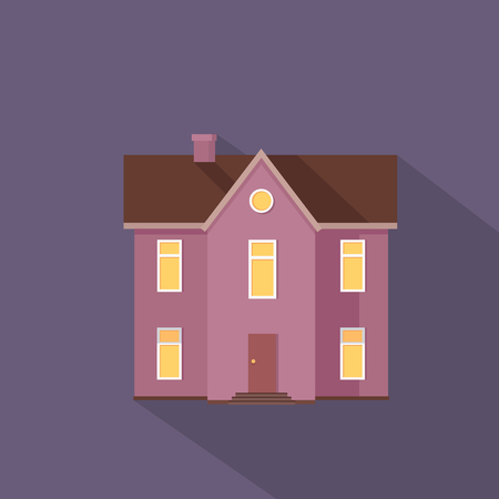 stored: Two stored country house isolated. Exterior home icon symbol sign. Colorful residential cottage in violet colors. Part of series of modern buildings in flat design style. Real estate concept. Vector