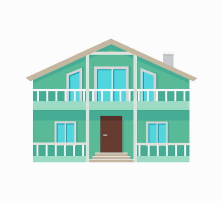 stored: Two stored country house with terrace isolated. Exterior home icon symbol. Residential cottage in green colors. Part of series of modern buildings in flat design style. Real estate concept. Vector
