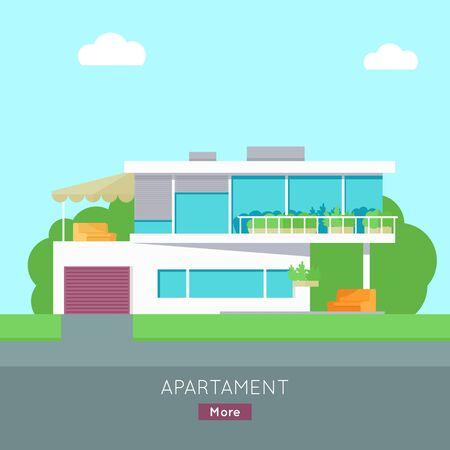 silhouette maison: maison Heureux avec modèle d'affiche terrasse bannière. Extérieur symbole maison icône. chalet résidentiel. Une partie de la série de bâtiments modernes dans le style de design plat. Real estate concept. Vecteur