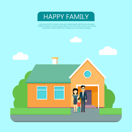 happy family at home: Happy family in the yard of their house. Home icon symbol sign. Colorful residential cottage with green bushes. Part of series of modern buildings in flat design style. Real estate concept. Vector