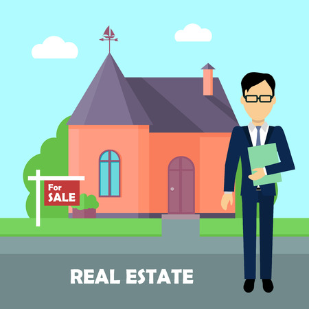 agent: Real estate broker at work. Real estate agent, house building, property home, realtor and rent, sale housing, buy apartment. Part of series of modern buildings in flat design style. Vector