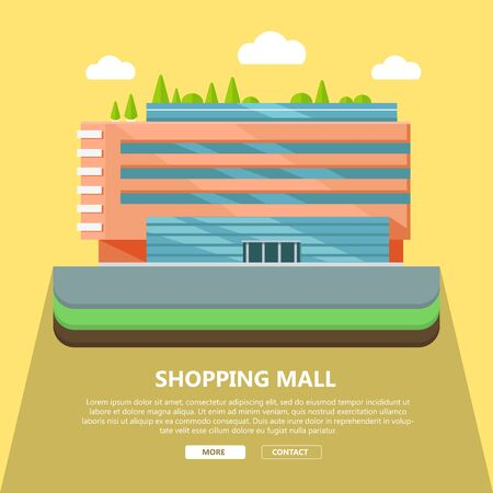 Einkaufszentrum Web-Seite Vorlage mit Text mehr und Kontakt. Flaches Design. Wirtschaftsbau Konzept Illustration für Web-Design, Banner. Geschäft, Einkaufszentrum, Einkaufszentrum, Supermarkt, Business Center Vektorgrafik