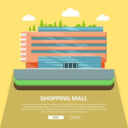 Winkelcentrum webpagina sjabloon met tekst steeds contact. Plat ontwerp. Commercieel gebouw concept illustratie voor webdesign, banners. Winkel, winkelcentrum, winkelcentrum, supermarkt, business center
