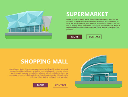 modern hospital: Supermarket web page horizontal templates. Flat design. Commercial building concept illustration for web design, banners. Shopping center, shopping mall, business center on color background.