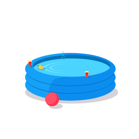 Inflatable Pool vector. Flat design. Summer vacation concept. Games in the water. Leisure in the back yard. Illustration for advertising, flayers, app icons, prints. Isolated on white background.  イラスト・ベクター素材