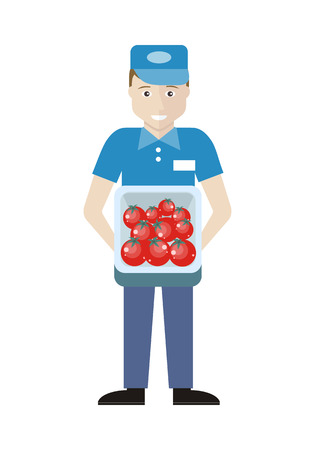 merchandiser: Profession series. Young man sales assistant, merchandiser with tomatoes in track. Seller holds box in his hands. Shop assistant isolated on white. Salesman on his working place. Vector illustration