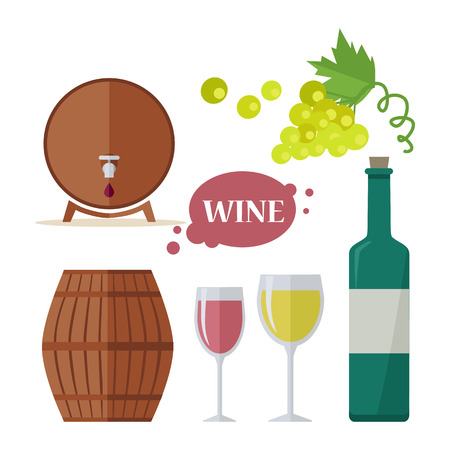 viniculture: Wine consumption icon set. Collection of glasses, grapes, bottle, barrels. Check elite vintage strong red and white vine. Part of series of viniculture production and preparation items. Vector