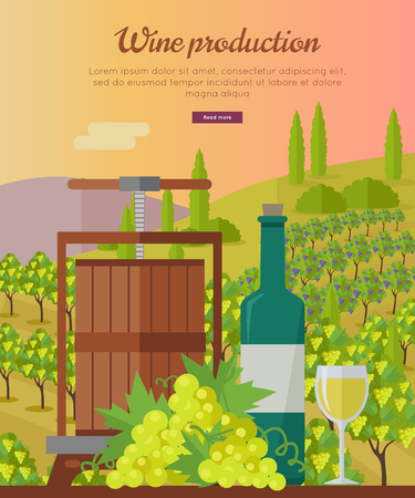 viniculture: Wine production banner. Bottle of wine, beaker, vineyard, wooden barrel, with grape valley on background. Creative advertisement poster for white wine. Part of series of viniculture preparation. Vector