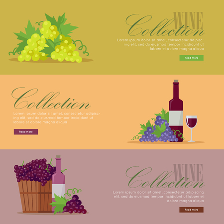 Set of fliers for elite wine collections. For labels, tags, tallies, posters, banners of check vintage wines.