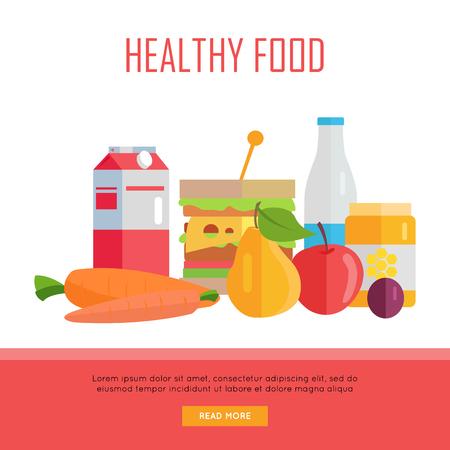 tiendas de comida: Concepto de alimentos saludables bandera de la tela. Vector de diseño plano. Ilustración de varios alimentos lácteos, miel, queso, frutas y verduras en el fondo blanco para los cafés, tiendas, páginas web diseño granja.