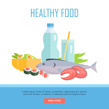 fish steak: Healthy food concept web banner. Vector in flat design. Illustration of various food and drinks water, salmon fish steak, sushi, salad on white background for cafe, stores, gym web pages design. Illustration