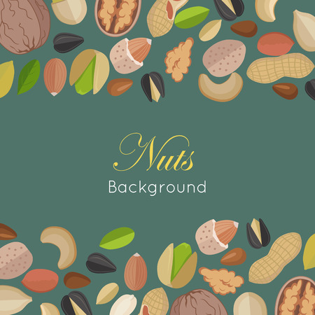 pumpkin seeds: Nuts background concept vector in flat design. Walnut, cashew, pistachio, peanut, almond, sunflower, pumpkin, flax illustrations for wallpaper, polygraphy, textiles web page design surface textures