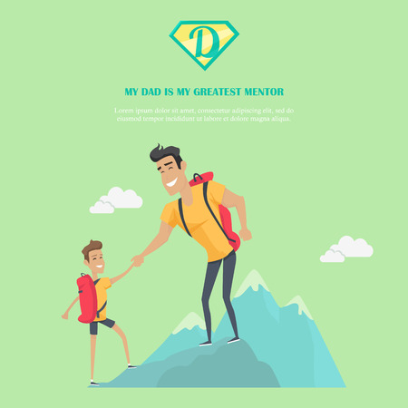 physical activity: My dad is greatest mentor vector banner. Flat design. Man climbing mountain with his son. Physical activity, travel and tourism with father. Dad day celebrating. Family values and relationships. Illustration
