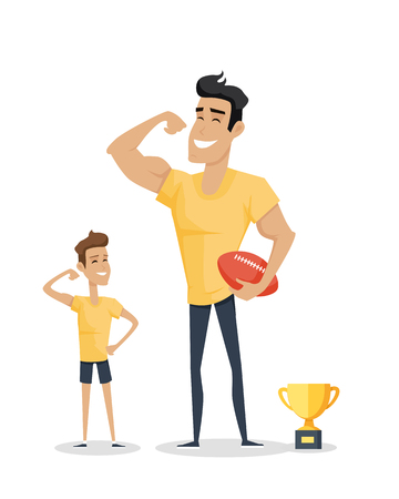 fatherhood: Father and his adorable son with basketball soccer and cup. Role model, greatest mentor. Part of series of fathers day celebration banners. Honoring dads. Fatherhood concept, paternal bonds. Vector