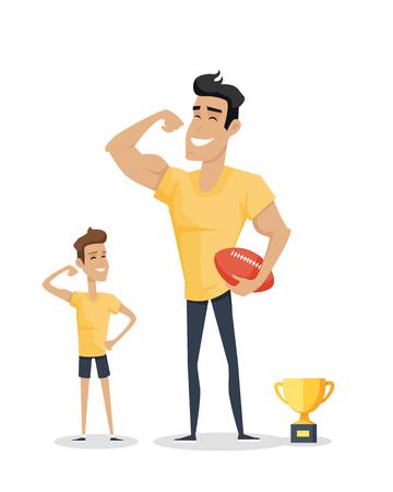 Vader en zijn schattige zoon met basketbal en voetbal cup. Rolmodel, grootste mentor. Een deel van de serie van vaders dag viering banners. Ter ere van vaders. Vaderschap concept, vaderlijke obligaties. Vector Stock Illustratie