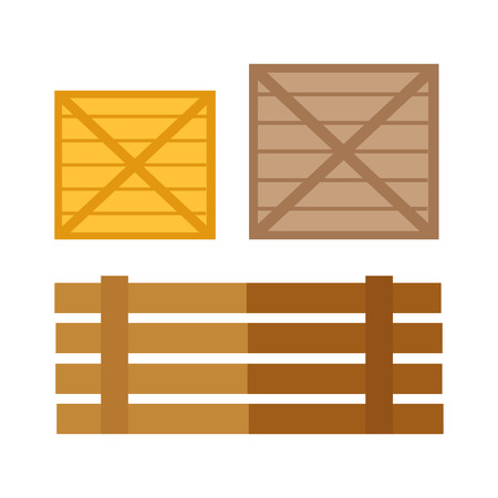 illustrating: Wooden boxes vector. Flat design. Traditional containers from boards for storage and products transportation. Illustration for agricultural, shipping concepts illustrating.