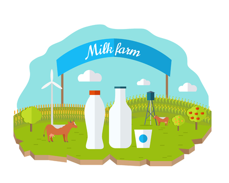 naturally: Milk farm concept banner vector flat design. Organic farming, traditional products. Clean naturally produced food. Bottle and glass of milk with animals, fields, garden, banner on background.