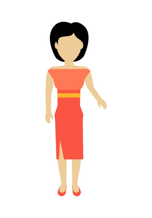 personage: Female character without face in red dress vector in flat design. Woman template personage figure illustration for woman concepts, fashion app, infographic. Isolated on white background.