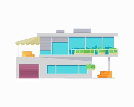happy house: Happy house with terrace banner poster template. Exterior home icon symbol. Residential cottage. Part of series of modern buildings in flat design style. Real estate concept. Vector