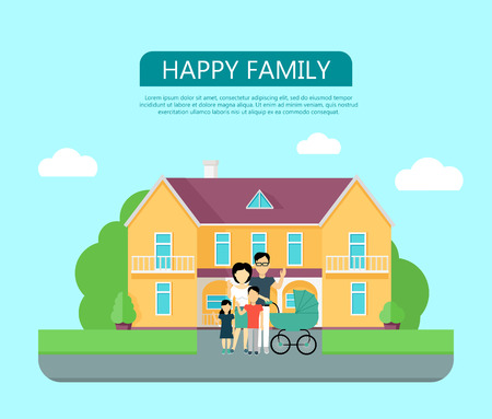 violet residential: Happy family in the yard of their house. Home icon symbol sign. Colorful residential cottage with green bushes. Part of series of modern buildings in flat design style. Real estate concept. Vector
