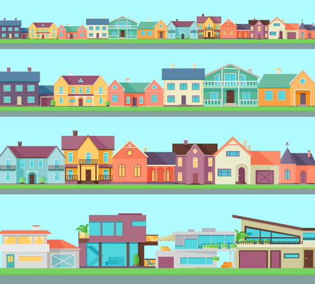 Big set of houses, buildings, architecture variations. Cottage and country houses. Countryside or city architecture. Part of series of modern buildings in flat style. Real estate concept. Vector